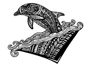 Dolphin Zentangle_white inside png
