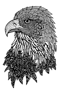 Eagle Zentangle_white inside png