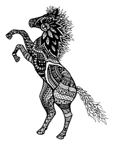 Horse Zentangle_white inside png